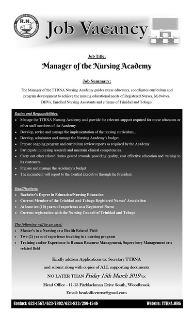 Job Vacancy – Manager of The Nursing Academy