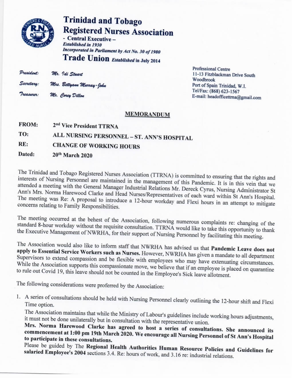 SAH Change in Working Hours Memorandum 1