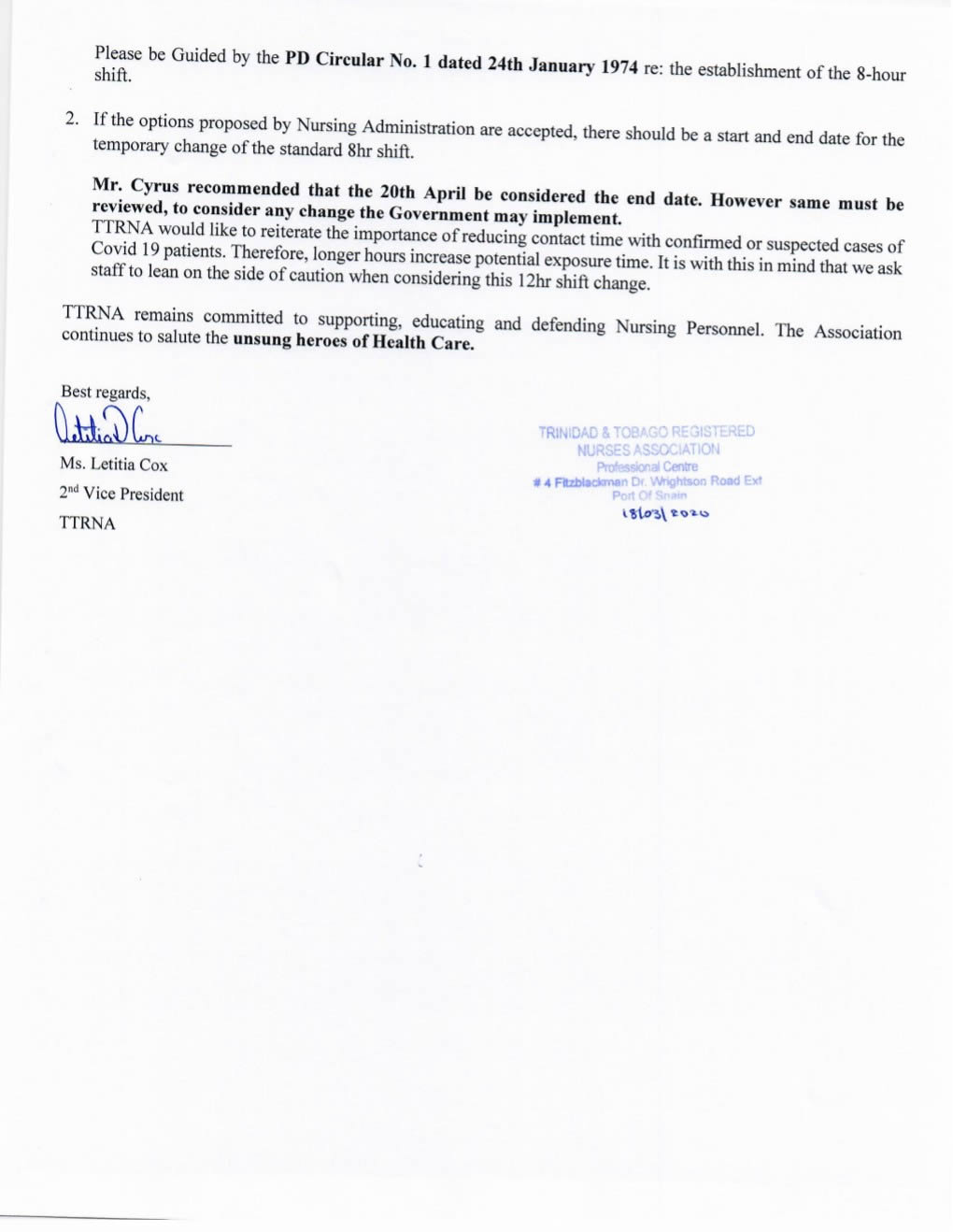 SAH Change in Working Hours Memorandum 2