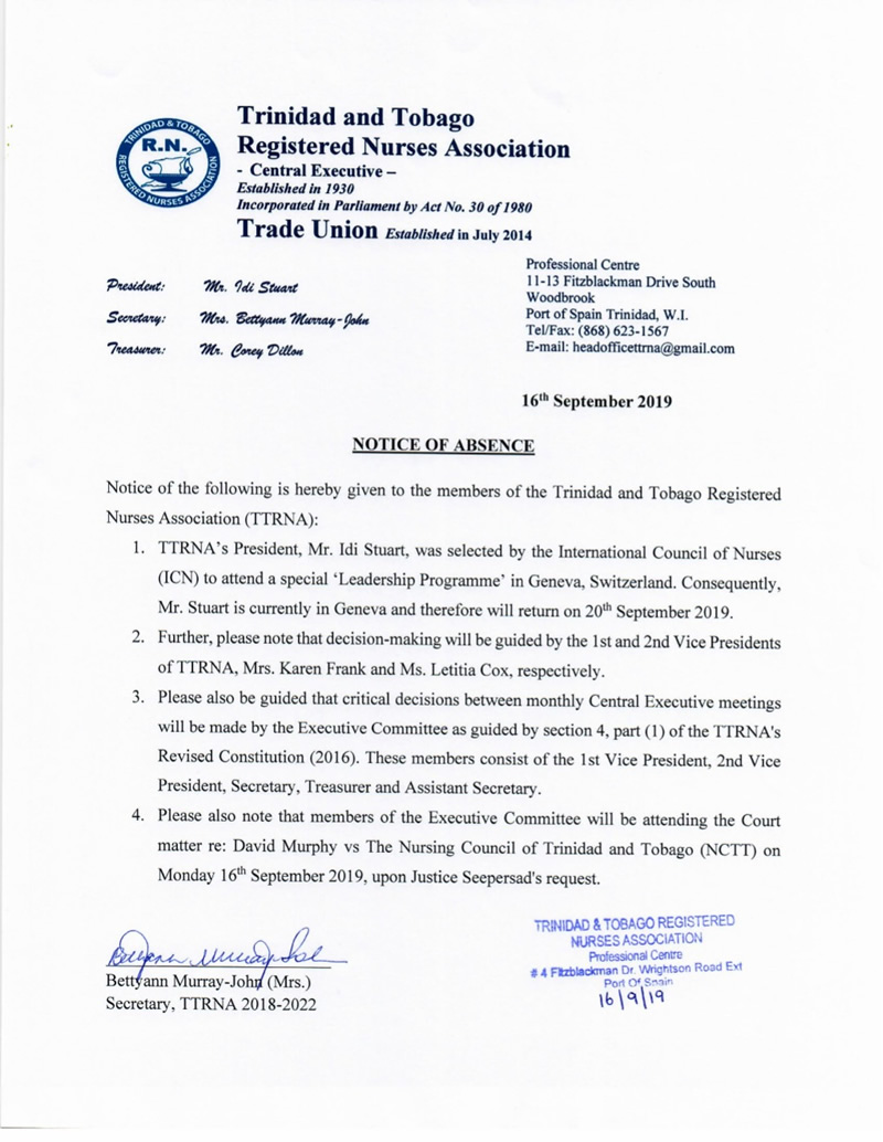 Notice of Absence Sept 2019